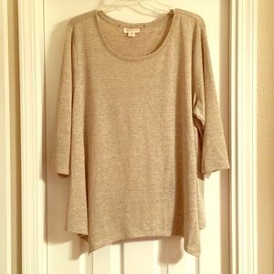 Style & Co 3X Sharkbit hem long 3/4 Sleeve Knit